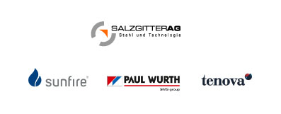 Logos of the project partners: Salzgitter AG, sunfire, Paul Wurth, tenova